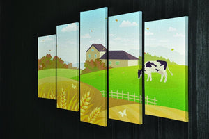 beautiful fall countryside scene with a grazing cow 5 Split Panel Canvas - Canvas Art Rocks - 2