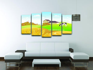beautiful fall countryside scene with a grazing cow 5 Split Panel Canvas - Canvas Art Rocks - 3