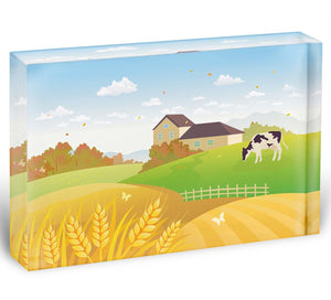 beautiful fall countryside scene with a grazing cow Acrylic Block - Canvas Art Rocks - 1