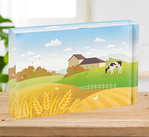 beautiful fall countryside scene with a grazing cow Acrylic Block - Canvas Art Rocks - 2