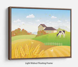 beautiful fall countryside scene with a grazing cow Floating Frame Canvas