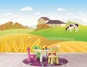 beautiful fall countryside scene with a grazing cow Wall Mural Wallpaper - Canvas Art Rocks - 2