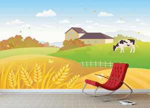 beautiful fall countryside scene with a grazing cow Wall Mural Wallpaper - Canvas Art Rocks - 3