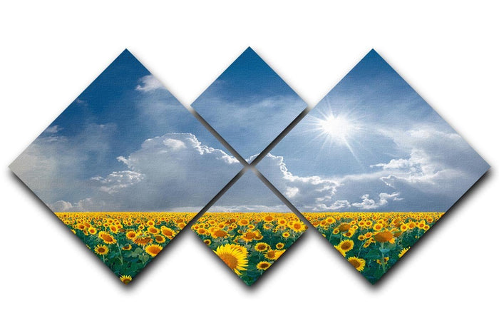 big sunflowers field and blue sky 4 Square Multi Panel Canvas