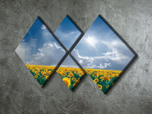 big sunflowers field and blue sky 4 Square Multi Panel Canvas  - Canvas Art Rocks - 2