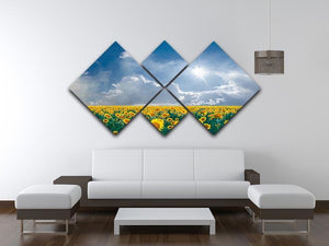 big sunflowers field and blue sky 4 Square Multi Panel Canvas  - Canvas Art Rocks - 3
