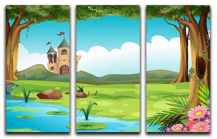 castle and a pond 3 Split Panel Canvas Print