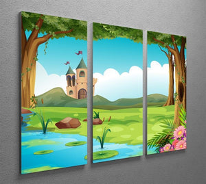 castle and a pond 3 Split Panel Canvas Print - Canvas Art Rocks - 2