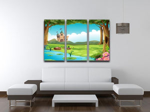 castle and a pond 3 Split Panel Canvas Print - Canvas Art Rocks - 3