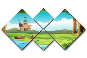 castle and a pond 4 Square Multi Panel Canvas  - Canvas Art Rocks - 1