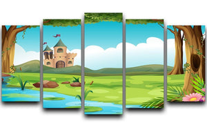 castle and a pond 5 Split Panel Canvas  - Canvas Art Rocks - 1