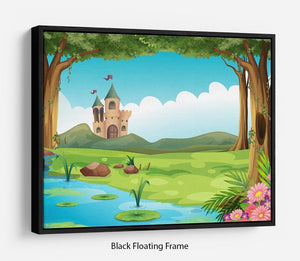 castle and a pond Floating Frame Canvas