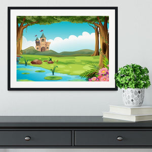 castle and a pond Framed Print - Canvas Art Rocks - 1