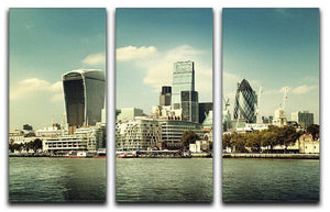city skyline from the River Thames 3 Split Panel Canvas Print - Canvas Art Rocks - 1