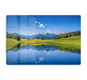 clear mountain lake and fresh green HD Metal Print