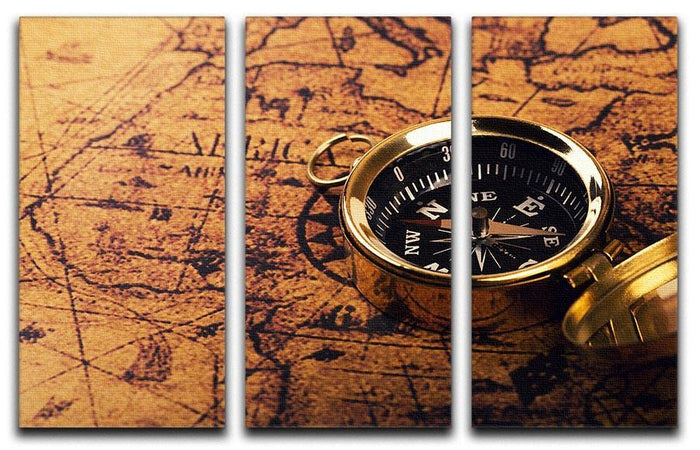 compass on vintage world map 3 Split Panel Canvas Print