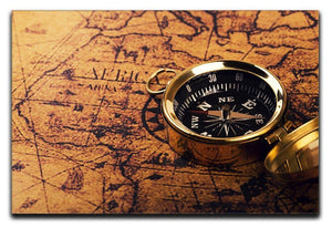 compass on vintage world map Canvas Print or Poster  - Canvas Art Rocks - 1