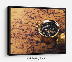 compass on vintage world map Floating Frame Canvas