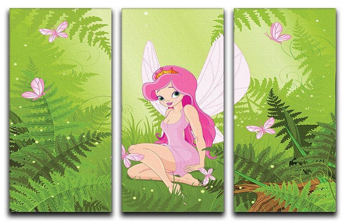 cute fairy into magic forest 3 Split Panel Canvas Print