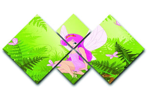 cute fairy into magic forest 4 Square Multi Panel Canvas  - Canvas Art Rocks - 1