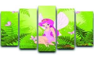 cute fairy into magic forest 5 Split Panel Canvas  - Canvas Art Rocks - 1