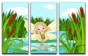 cute fairy sitting in leaf of lily 3 Split Panel Canvas Print - Canvas Art Rocks - 1