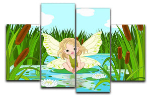 cute fairy sitting in leaf of lily 4 Split Panel Canvas  - Canvas Art Rocks - 1