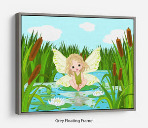 cute fairy sitting in leaf of lily Floating Frame Canvas