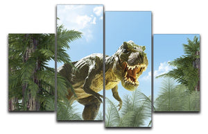 dinosaur in the jungle background 4 Split Panel Canvas  - Canvas Art Rocks - 1