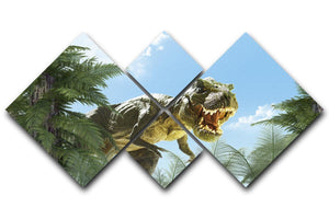 dinosaur in the jungle background 4 Square Multi Panel Canvas  - Canvas Art Rocks - 1