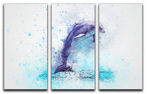 dolphin Painting 3 Split Panel Canvas Print - Canvas Art Rocks - 1