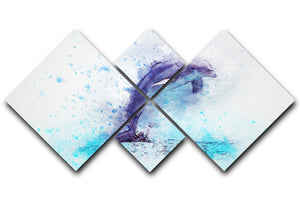 dolphin Painting 4 Square Multi Panel Canvas  - Canvas Art Rocks - 1