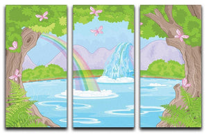 fairy landscape with Fabulous Waterfall 3 Split Panel Canvas Print - Canvas Art Rocks - 1