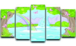 fairy landscape with Fabulous Waterfall 5 Split Panel Canvas  - Canvas Art Rocks - 1