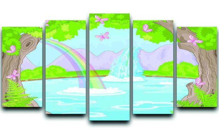 fairy landscape with Fabulous Waterfall 5 Split Panel Canvas