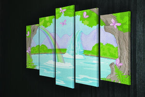 fairy landscape with Fabulous Waterfall 5 Split Panel Canvas - Canvas Art Rocks - 2