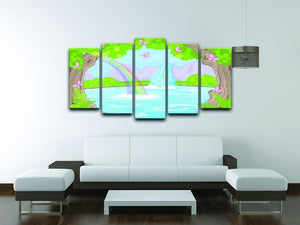 fairy landscape with Fabulous Waterfall 5 Split Panel Canvas - Canvas Art Rocks - 3