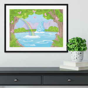fairy landscape with Fabulous Waterfall Framed Print - Canvas Art Rocks - 1