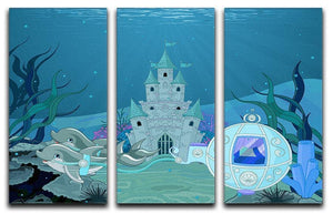 fairytale dolphin carriage on ocean 3 Split Panel Canvas Print - Canvas Art Rocks - 1