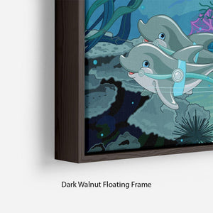 fairytale dolphin carriage on ocean Floating Frame Canvas