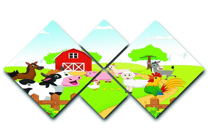 farm animals with background 4 Square Multi Panel Canvas