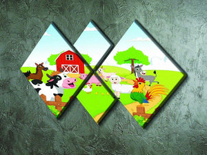 farm animals with background 4 Square Multi Panel Canvas - Canvas Art Rocks - 2