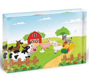 farm animals with background Acrylic Block - Canvas Art Rocks - 1