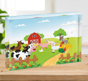 farm animals with background Acrylic Block - Canvas Art Rocks - 2