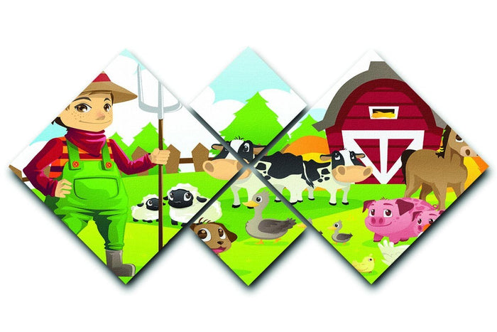 farmer at his farm with a bunch of farm animals 4 Square Multi Panel Canvas