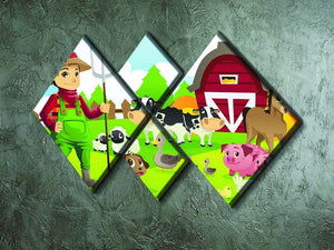 farmer at his farm with a bunch of farm animals 4 Square Multi Panel Canvas - Canvas Art Rocks - 2