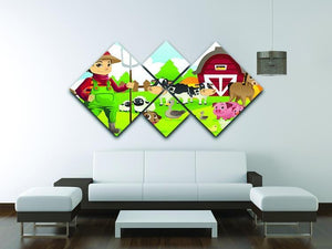 farmer at his farm with a bunch of farm animals 4 Square Multi Panel Canvas - Canvas Art Rocks - 3