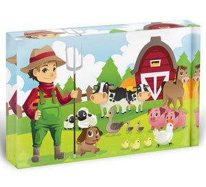 farmer at his farm with a bunch of farm animals Acrylic Block - Canvas Art Rocks - 1