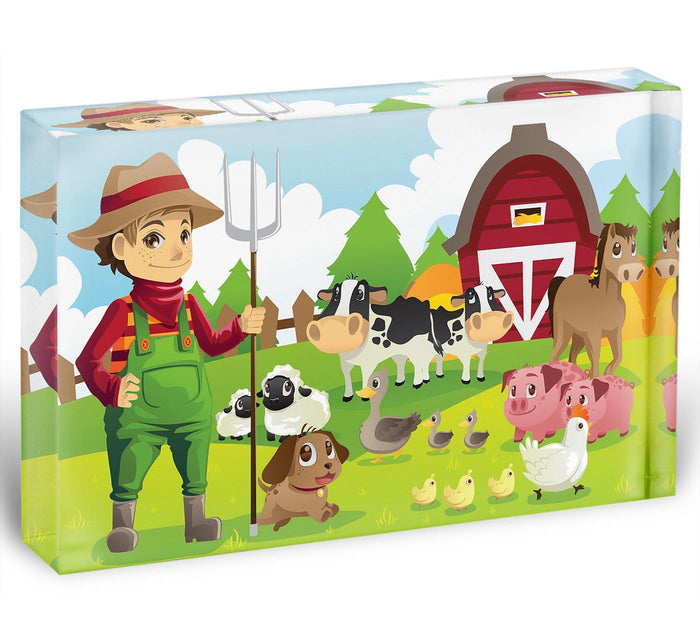 farmer at his farm with a bunch of farm animals Acrylic Block