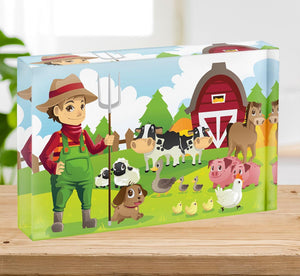farmer at his farm with a bunch of farm animals Acrylic Block - Canvas Art Rocks - 2